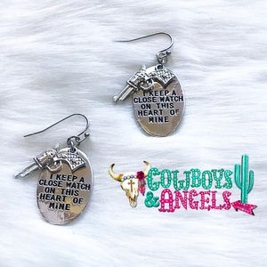 Johnny Cash Quote Earrings - Silver
